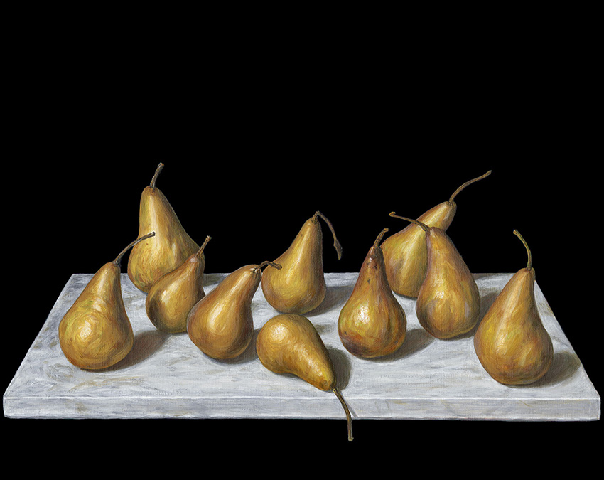 Still life with Beurre Bosc Pears by Chris Beaumont